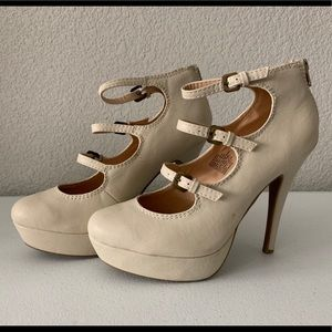 Lauren Conrad Strappy Mary Jane Cream Heels